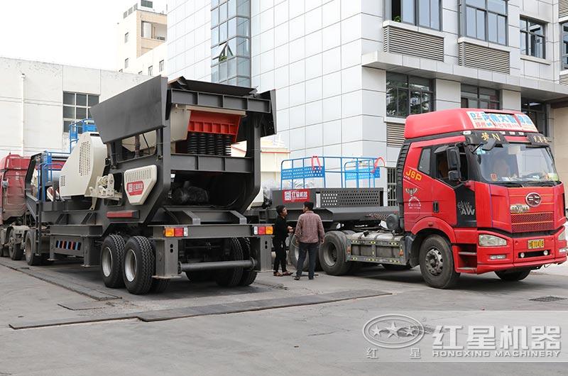 一体式建筑垃圾破碎机设备直接开往客户现场