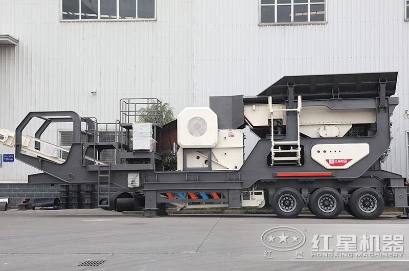 时产50吨山石移动石子机:轮胎式