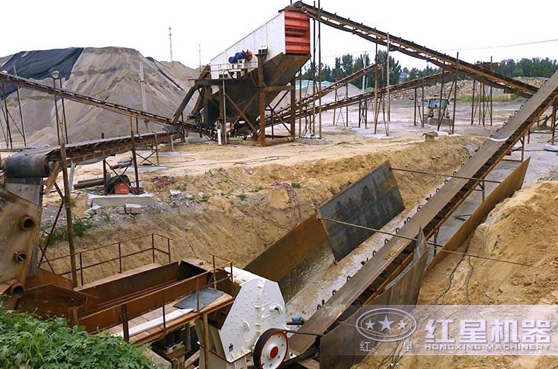 山东客户小型石料生产线现场图