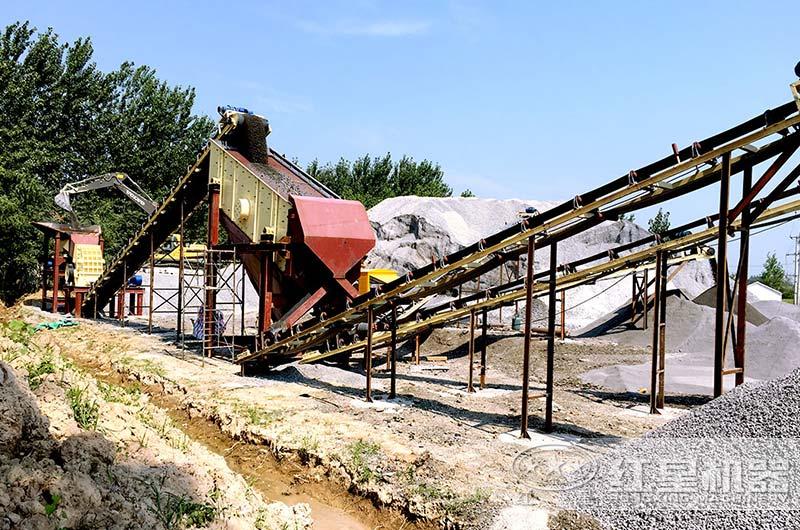河南客户时产100吨石子破碎生产线