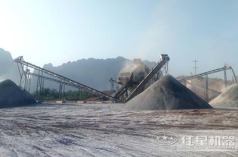 陕西客户石灰石制砂生产线实拍图