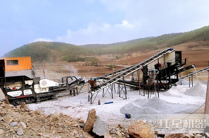 移动式石料厂生产线实拍图