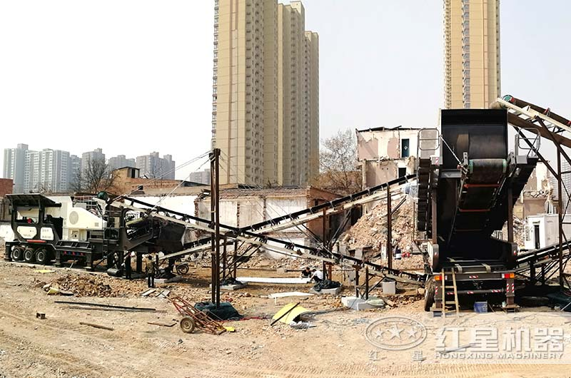 河南客户建筑垃圾处理设备工作现场