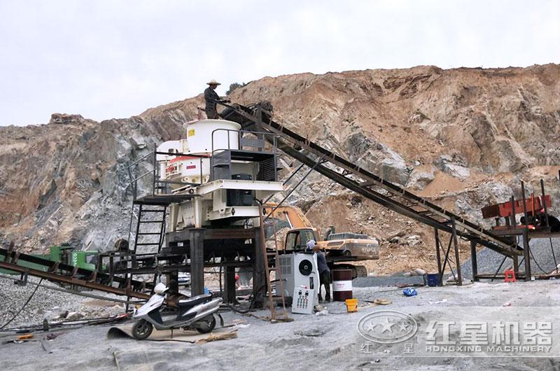 石英石制砂机工作现场图片