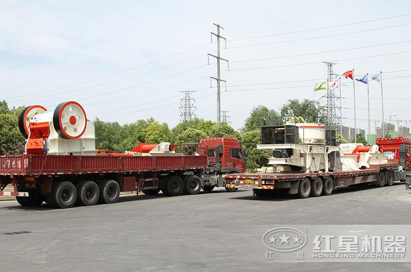 时产200吨固定破碎机设备发货