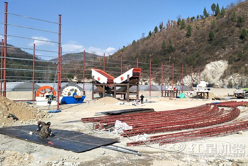 鹅卵石制砂生产线安装现场