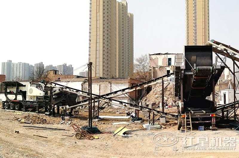 流动建筑垃圾粉碎机正常处理建筑废渣