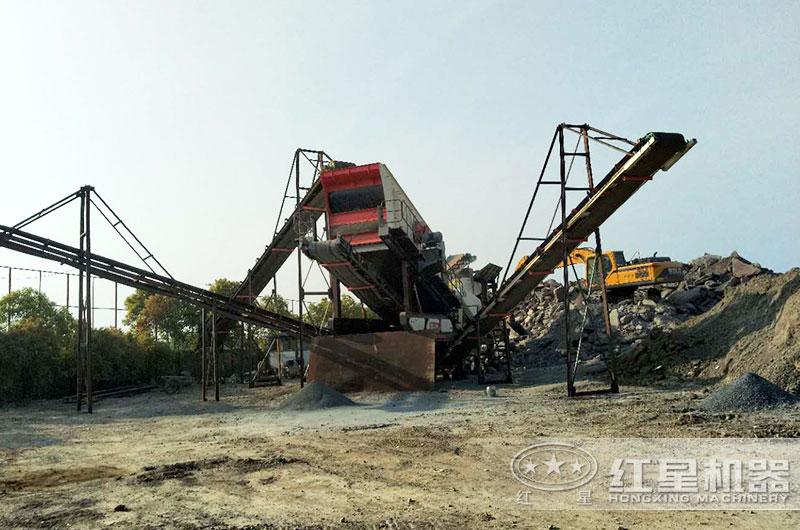 混凝土块儿破碎机工作现场图片