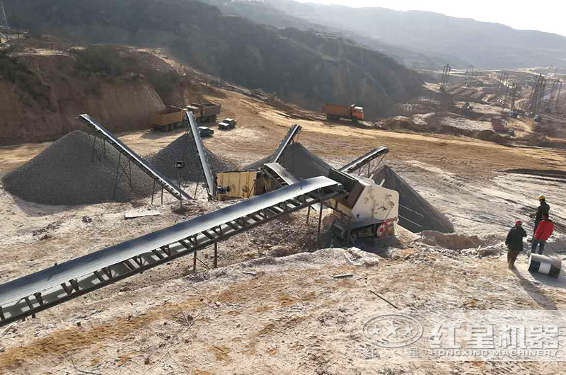 石灰石生产线现场图片