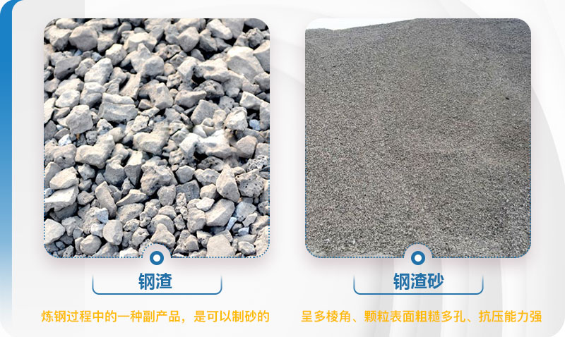 钢渣制砂前后对比图
