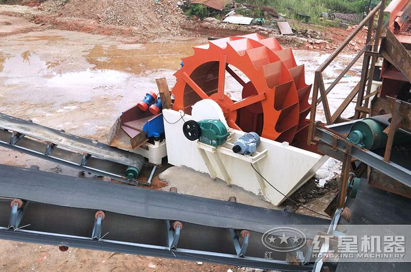 安徽客户轮斗式洗砂机工作现场图片
