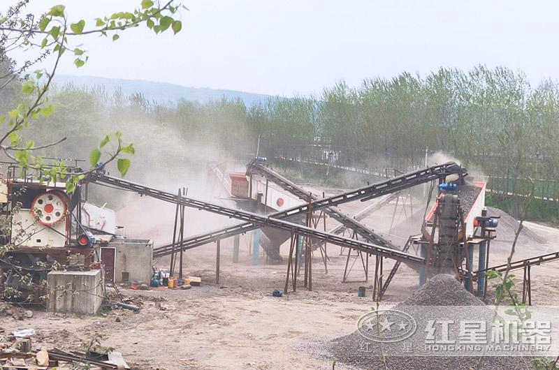 河北客户碎石破碎机生产线图片