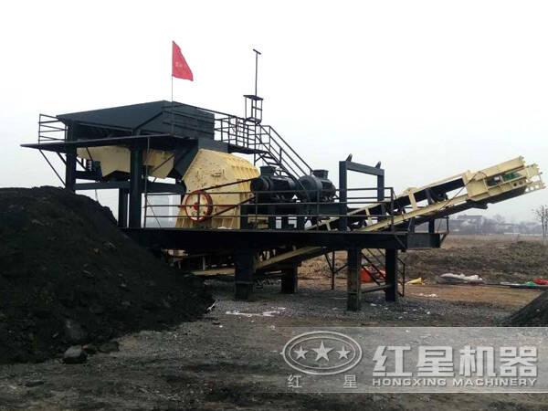 车载煤矸石破碎机高产作业现场