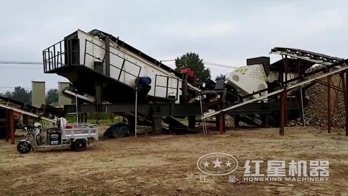 河北重锤破移动破碎站碎煤现场,碎煤简单,一机搞定