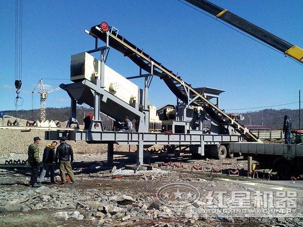 车载煤矸石破碎机灵活作业现场