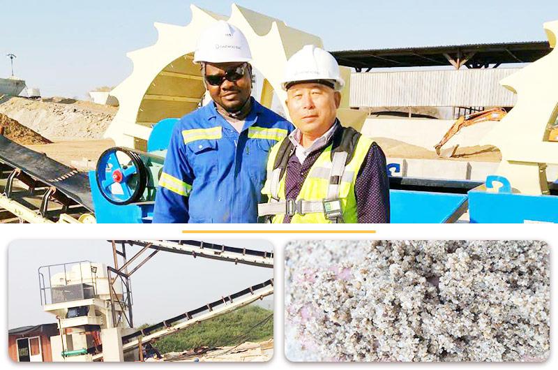 赞比亚利文斯敦砂岩制砂洗沙生产线现场
