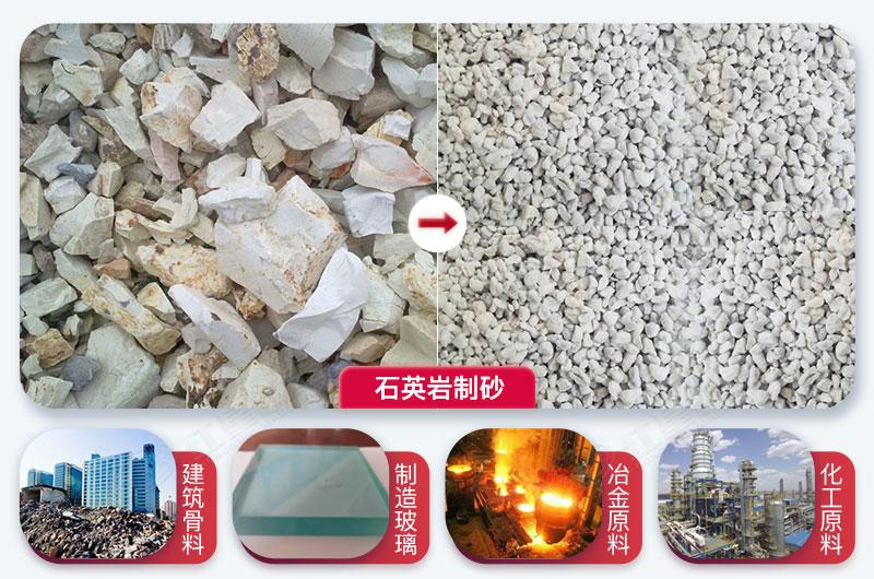 石英岩制砂前后及用途